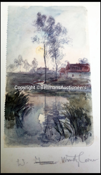 BNPS.co.uk (01202 558833)<br /> Pic: BellmansAuctioneers/BNPS<br /> <br /> 'West of Windy Corner'<br /> <br /> A collection of beautiful First War watercolours that offer a fascinating glimpse into one man's life in the trenches has emerged for sale a century later.<br /> <br /> Talented artist Finlay Mackinnon, who exhibited multiple times at the prestigious Royal Academy, answered the call to sign up in 1914 and spent almost all of the First World War fighting in France.<br /> <br /> But in his free time on the front he did what he loved best, capturing life in the trenches and also the beauty of their bleak surroundings in his pictures.<br /> <br /> Bellmans Auctioneers, who are selling the album of artwork, know little about the provenance of the album, which is expected to fetch £4,000 at auction.