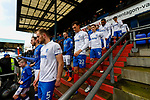 The teams walk down the Boundary Park steps to the pitch. Oldham v Portsmouth League 1