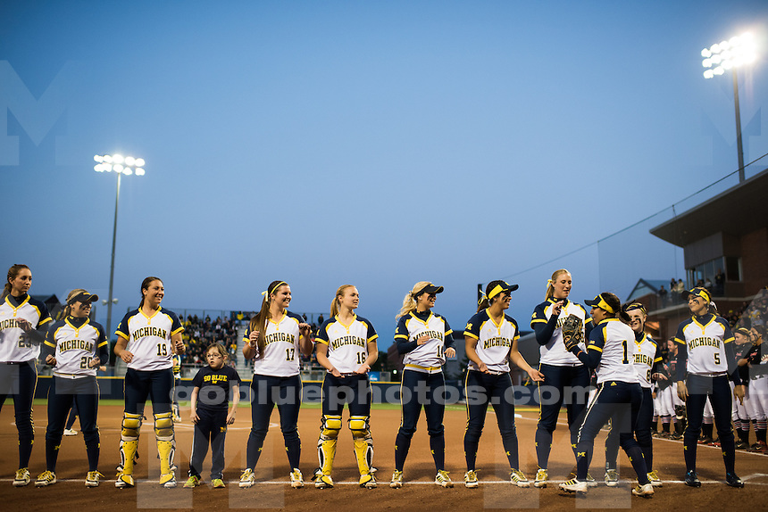 The University of Michigan softball team defeats Georgia, 10-3, during the opening of the Ann Arbor Super Regional at Wilpon Softball Complex in Ann Arbor, Mich. on May 21, 2015.