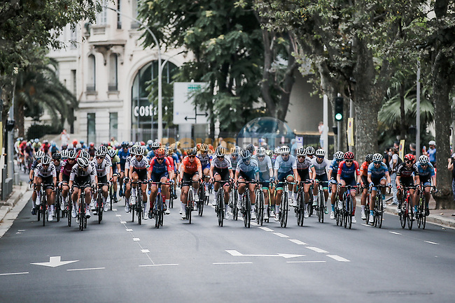 The peloton in action during La Course By Le Tour de France 2020, running 96km from Nice to Nice, France. 29th August 2020.<br /> Picture: ASO/Thomas Maheux   Cyclefile<br /> All photos usage must carry mandatory copyright credit (© Cyclefile   ASO/Thomas Maheux)