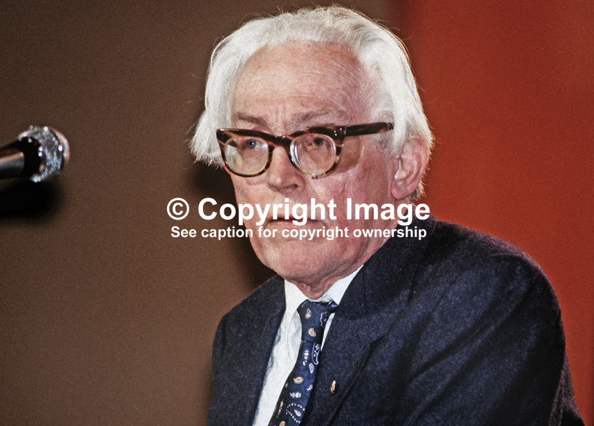 Michael Foot, MP, Labour Party, leader, annual conference, Blackpool, 1982. 19820900146MF4.<br /> <br /> Copyright Image from Victor Patterson, 54 Dorchester Park, Belfast, UK, BT9 6RJ<br /> <br /> t1: +44 28 9066 1296 (from Rep of Ireland 048 9066 1296)<br /> t2: +44 28 9002 2446 (from Rep of Ireland 048 9002 2446)<br /> m: +44 7802 353836<br /> <br /> e1: victorpatterson@me.com<br /> e2: victorpatterson@gmail.com<br /> <br /> The use of my copyright images is subject to my Terms &amp; Conditions.<br /> <br /> It is IMPORTANT that you familiarise yourself with them. They are available on my website at www.victorpatterson.com.<br /> <br /> None of my copyright images may be used on a website unless they are visibly watermarked, i.e. &copy; Victor Patterson within the body of the visible image. Metadata denoting my copyright must NOT be deleted. <br /> <br /> Web use is extra at currently recommended NUJ rates.