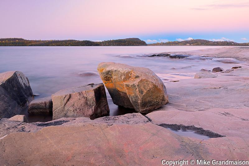 Rocky shoreline of Lake Superior<br /> Rossport<br /> Ontario<br /> Canada