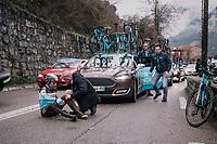 Axel Domont (FRA/AG2R-La Mondiale) crashed<br /> <br /> 76th Paris-Nice 2018<br /> Stage 7: Nice &gt; Valdeblore La Colmiane (175km)