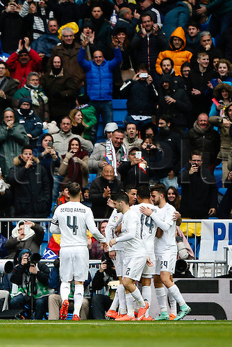 05.03.2016.  Madrid, Spain.  Cristiano Ronaldo dos Santos (7) Real Madrid celebrates after scoring his team´s goal. La Liga between Real Madrid versus Celta de Vigo at the Santiago Bernabeu stadium in Madrid, Spain