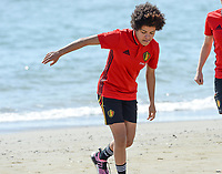 20180302 - LARNACA , CYPRUS :  Belgian Kassandra Missipo pictured during a Muscular warm up training session on the beach before a women's soccer game between The Belgian Red Flames and Spain , on friday 2 March 2018 on the CTO Beach in Larnaca , Cyprus . The game will be the second game in group B for Belgium during the Cyprus Womens Cup , a prestigious women soccer tournament as a preparation on the World Cup 2019 qualification duels. PHOTO SPORTPIX.BE | DAVID CATRY