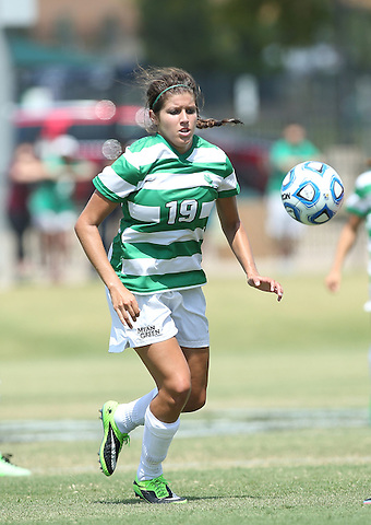 ARLINGTON, TX - AUGUST 25: Alyson Stallcup #19 of the North Texas mean green - Houston Baptist vs North Texas Mean Green Soccer at Mean Green Village Soccer Field in Denton on August 25, 2013 in Denton, Texas. Photo by Rick Yeatts