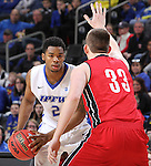 SIOUX FALLS, SD - MARCH 5:  Logan Power #33 of South Dakota defends Deangelo Stewart #2 of Fort Wayne in the 2016 Summit League Tournament. (Photo by Dick Carlson/Inertia)