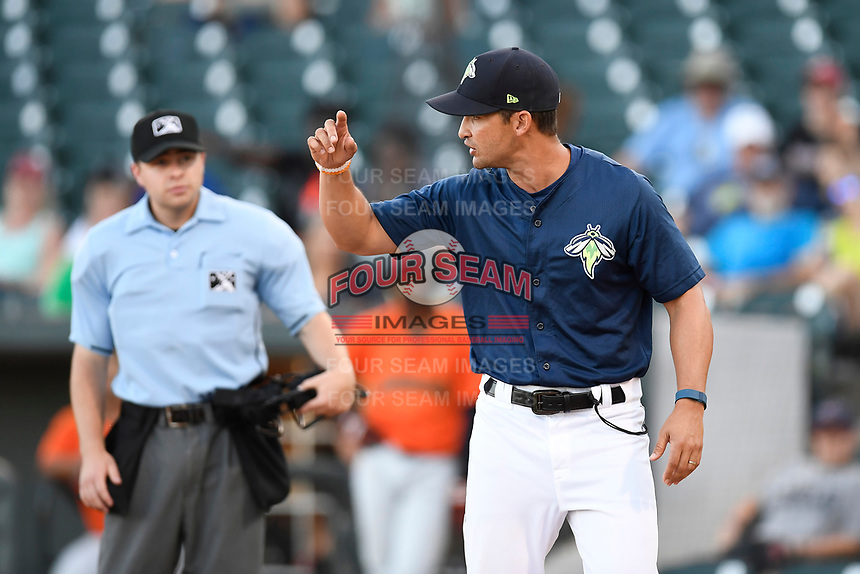 Manager Jose Leger (19) of the Columbia Fireflies argues with home plate umpire John Budka Jr. during a game against the Augusta GreenJackets on Sunday, July 30, 2017, at Spirit Communications Park in Columbia, South Carolina. Leger was ejected. Augusta won, 6-0. (Tom Priddy/Four Seam Images)
