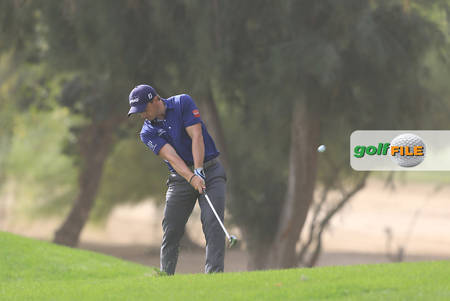 Paul Dunne (IRL) on the 1st during Round 1 of the Omega Dubai Desert Classic, Emirates Golf Club, Dubai,  United Arab Emirates. 24/01/2019<br /> Picture: Golffile | Thos Caffrey<br /> <br /> <br /> All photo usage must carry mandatory copyright credit (© Golffile | Thos Caffrey)