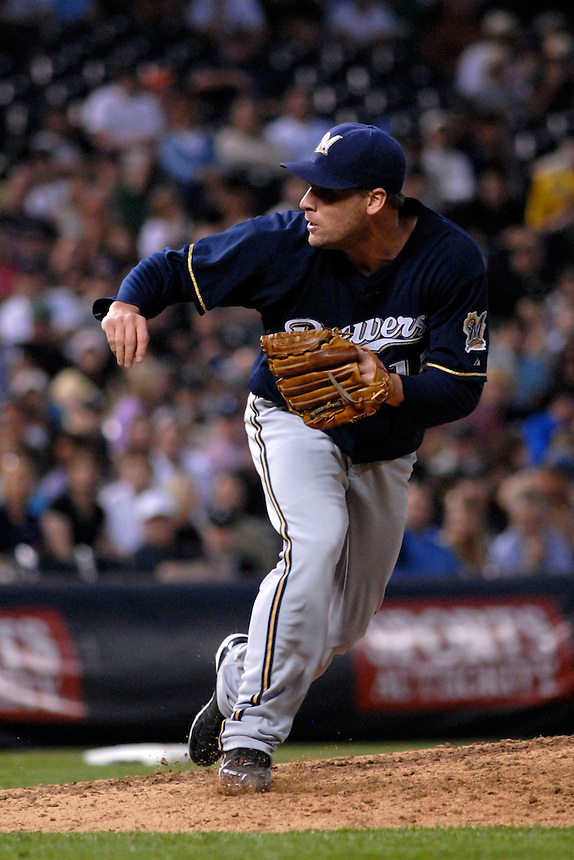 06 June 08: Milwuakee Brewers pitcher Carlos Villanueva follows through on a pitch during a game against the Colorado Rockies. The Rockies defeated the Brewers 6-4 at Coors Field in Denver, Colorado on June 6, 2008.
