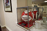 Altrincham 2 Worcester City 0, 23/03/2013. Moss Lane, Blue Square Bet North. A souvenir ball on display in a lounge inside the stadium before the Blue Square Bet North fixture between Altrincham and Worcester City at Moss Lane, Altrincham. The home team won the match 2-0 watched by 777 spectators on a day when most non-League football in England was cancelled due to adverse weather. Altrincham were historically one of the major English non-League teams but have never been promoted to the Football League. Photo by Colin McPherson.