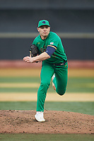Notre Dame Fighting Irish relief pitcher Cole Kmet (33) follows through on his delivery against the Wake Forest Demon Deacons at David F. Couch Ballpark on March 10, 2019 in  Winston-Salem, North Carolina. The Fighting Irish defeated the Demon Deacons 8-7 in 10 innings in game two of a double-header. (Brian Westerholt/Four Seam Images)