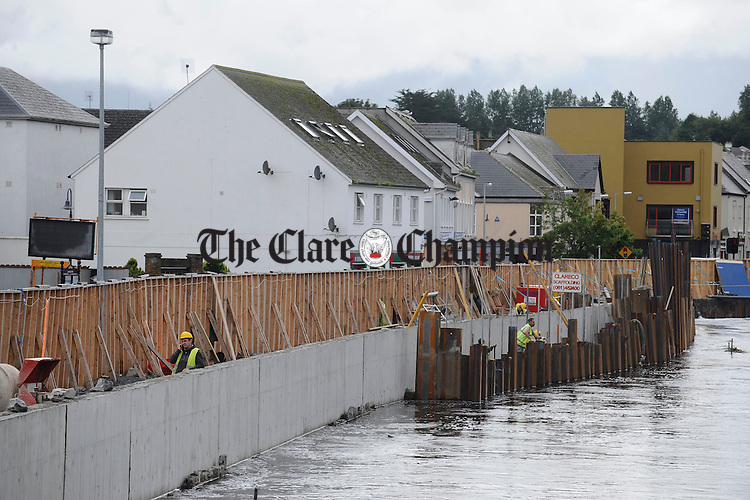 A view of some of the work completed to date on the Ennis Flood Relief project. Photograph by John Kelly.