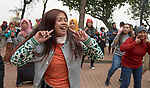 Indonesian domestic workers in Hong Kong dance as they gather in a public park on Sunday, their only day off. Much of the dancing is in support of One Billion Rising, a global campaign against violence against women. Some 370,000 foreign domestic workers live in Hong Kong, about five percent of the population. Most are women from the Philippines and Indonesia.
