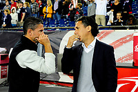 September 9, 2017 - Foxborough, Mass: New England Revolution head coach Jay Heaps (left) and Montreal Impact head coach Mauro Biello (right) talk before the MLS game between the Montreal Impact and the New England Revolution held at Gillette Stadium in Foxborough Massachusetts. Revolution defeat Impact 1-0. Eric Canha/CSM