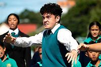 Christian Mauriri (Te Kura Kaupapa Maori o Nga Mokopuna school ) performs a haka outside the Wellington Islamic Centre. NZ marks one week since Christchurch terror attacks. Wellington Islamic Centre in Wellington, New Zealand on Friday, 22 March 2019. Photo: Dave Lintott / lintottphoto.co.nz