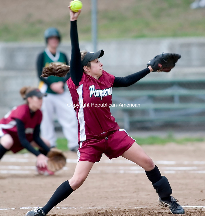 SOUTHBURY, CT - 10 MAY 2006 -051006JT07--<br /> Pomperaug's Rachel Zinni pitches at the beginning of Wednesday's game against New Milford at Community Field in Southbury.<br /> Josalee Thrift Republican-American