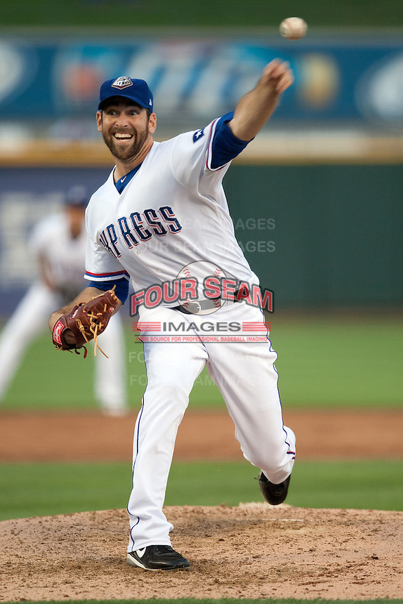 Round Rock Express pitcher Zach Jackson #47 delivers during the Pacific Coast League baseball game against the New Orleans Zephyrs on April 30, 2012 at The Dell Diamond in Round Rock, Texas. The Zephyrs defeated the Express 5-3. (Andrew Woolley / Four Seam Images)