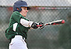 Dylan Judd #4 of Bellmore JFK strokes a double into right-centerfield during a non-league varsity baseball game against Freeport at Cleveland Avenue Field in Freeport on Friday, March 24, 2017. Freeport won by a score of 9-6.