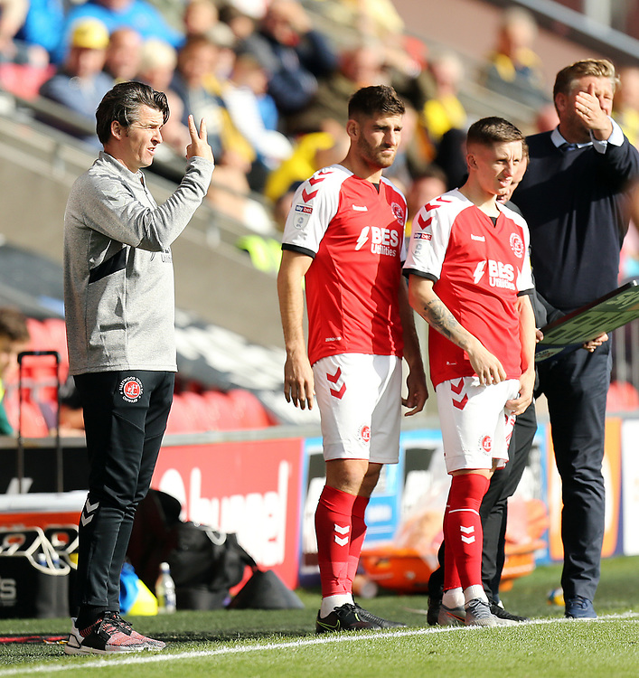 Fleetwood Town manager Joey Barton provides instructions to his team from the technical area<br /> <br /> Photographer Rich Linley/CameraSport<br /> <br /> The EFL Sky Bet League One - Fleetwood Town v Oxford United - Saturday 7th September 2019 - Highbury Stadium - Fleetwood<br /> <br /> World Copyright © 2019 CameraSport. All rights reserved. 43 Linden Ave. Countesthorpe. Leicester. England. LE8 5PG - Tel: +44 (0) 116 277 4147 - admin@camerasport.com - www.camerasport.com