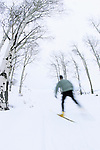 A young man nordic skate skis at the Jackson Hole Mountain Resort in Jackson Hole, Wyoming.