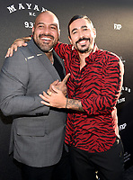 "LOS ANGELES - AUGUST 27: Vincent Rocco Vargas (L) and Gino Vento attend the season two red carpet premiere of FX's ""Mayans M.C"" at the ArcLight Dome on August 27, 2019 in Los Angeles, California. (Photo by Frank Micelotta/FX/PictureGroup)"