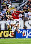 Solna 2014-07-12 Fotboll Allsvenskan AIK - Kalmar FF :  <br /> AIK:s Alexander Milosevic i duell med Kalmars M&aring;ns S&ouml;derqvist&nbsp;<br /> (Foto: Kenta J&ouml;nsson) Nyckelord:  AIK Gnaget Friends Arena Kalmar KFF