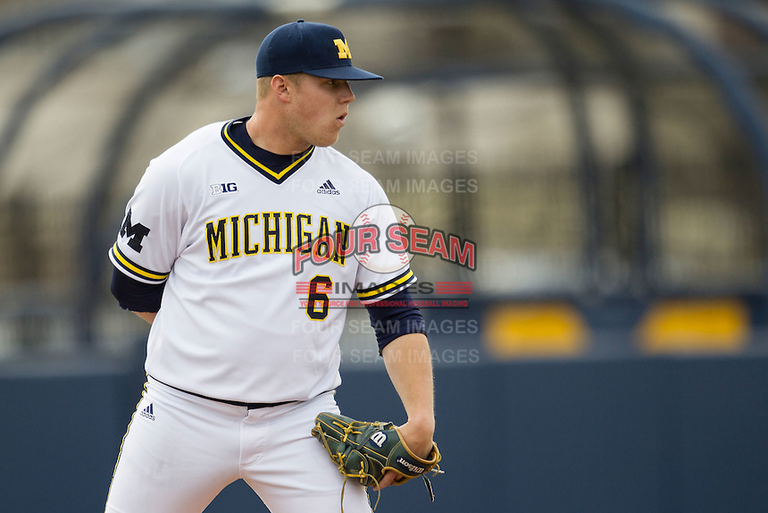 Michigan Wolverines pitcher Bryan Pall (6) looks to his catcher for the sign against the Toledo Rockets on April 20, 2016 at Ray Fisher Stadium in Ann Arbor, Michigan. Michigan defeated Bowling Green 2-1. (Andrew Woolley/Four Seam Images)