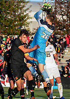 COLLEGE PARK, MD - NOVEMBER 03: Niklas Neumann #36 of Maryland makes a save during a game between Michigan and Maryland at Ludwig Field on November 03, 2019 in College Park, Maryland.