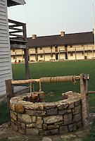 AJ2950, fort, Fort Frederick, Maryland, 1776 Frontier Fort, Barracks of the Continental Army and well at Fort Frederick State Park in Big Pool in the state of Maryland.