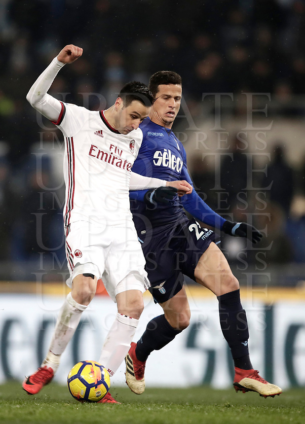 Football Soccer: Tim Cup semi-final second Leg, SS Lazio vs AC Milan, Stadio Olimpico, Rome, Italy, February 28, 2018.<br /> Milan's Nikola Kalinic (l) in action with Lazio's Luis Felipe Ramos (r) during the Tim Cup semi-final football match between SS Lazio vs AC Milan, at Rome's Olympic stadium, February 28, 2018.<br /> <br /> UPDATE IMAGES PRESS/Isabella Bonotto
