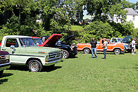 """MEGAN DAVIS/MCDONALD COUNTY PRESS Ford fans from across the country met in Town Hole on Saturday to share their passion for Fords of all eras - from """"slick"""" bodies to """"bump"""" bodies to """"dent"""" bodies."""
