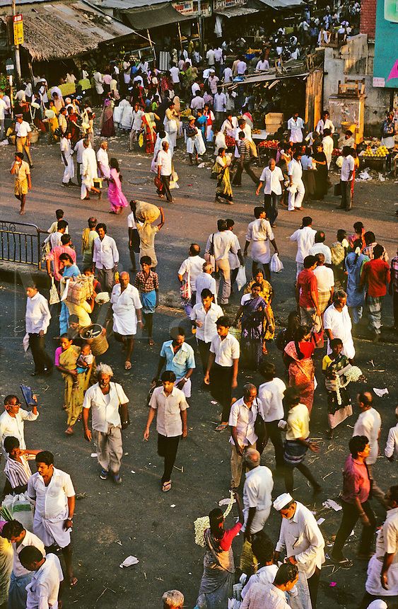 India. Chennai/Madras. Crowded street market.