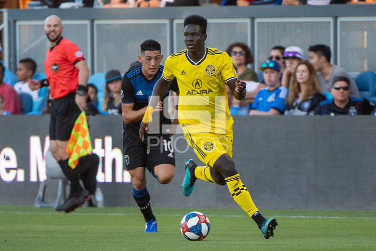 San Jose, CA - Saturday August 03, 2019: Aboubacar Keita #30 in a Major League Soccer (MLS) match between the San Jose Earthquakes and the Columbus Crew at Avaya Stadium.