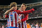 Antoine Griezmann of Atletico de Madrid celebrates with Kevin Gameiro and other teammates during their Copa del Rey 2016-17 Quarter-final match between Atletico de Madrid and SD Eibar at the Vicente Calderón Stadium on 19 January 2017 in Madrid, Spain. Photo by Diego Gonzalez Souto / Power Sport Images