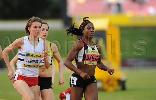 22.06.2012 Birmingham, ENGLAND : Womens 800m Heats, Marilyn Okoro and Emily Dudgeon in action during the Aviva Trials at the Alexandra Stadium...
