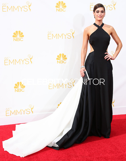 LOS ANGELES, CA, USA - AUGUST 25: Actress Lizzy Caplan arrives at the 66th Annual Primetime Emmy Awards held at Nokia Theatre L.A. Live on August 25, 2014 in Los Angeles, California, United States. (Photo by Celebrity Monitor)