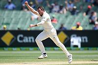 29th December 2019; Melbourne Cricket Ground, Melbourne, Victoria, Australia; International Test Cricket, Australia versus New Zealand, Test 2, Day 4; James Pattinson of Australia celebrates the wicket of Williamson for 0, bowled lbw - Editorial Use