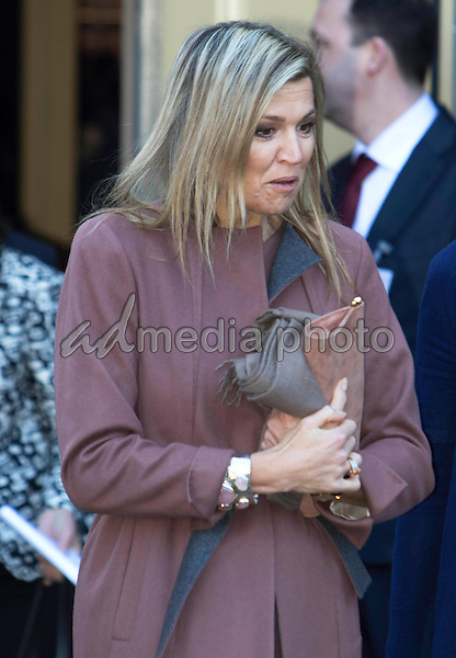 17-02-2016 Leiden, Netherlands - Queen Maxima during her visit at the SchuldHulpMaatje Nederland project in the Hooglandsekerk in Leiden. The project is to help people with financial problems.Photo Credit: PPE/face to face/AdMedia