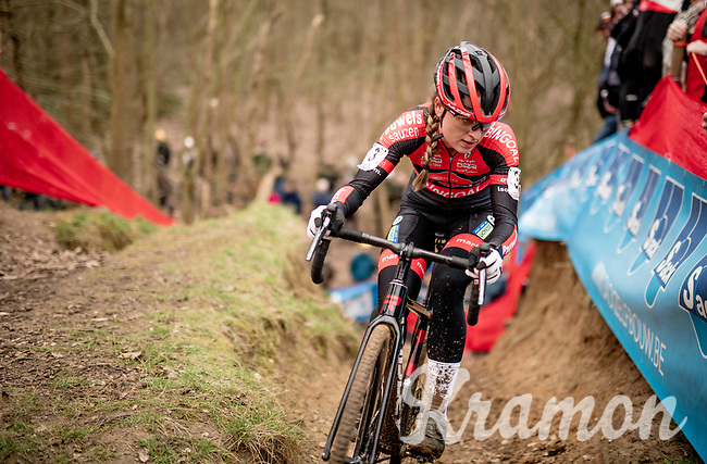 race leader Denise Betsema (NED/Pauwels Sauzen - Bingoal) <br /> <br /> Women's Race<br /> CX GP Leuven (BEL) 2020<br />  <br /> ©kramon
