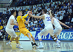 February 4, 2017:  Wyoming forward, Hayden Dalton #20, works against three Falcon defenders during the NCAA basketball game between the Wyoming Cowboys and the Air Force Academy Falcons, Clune Arena, U.S. Air Force Academy, Colorado Springs, Colorado.  Wyoming defeats Air Force 83-74.
