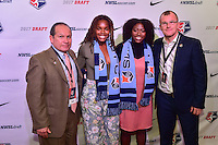 Los Angeles, CA - Thursday January 12, 2017: Sky Blue FC General Manager Tony Novo, Kayla Mills, Miranda Freeman during the 2017 NWSL College Draft at JW Marriott Hotel.