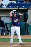 Bobby Coyle #34 of the Rancho Cucamonga Quakes bats against the Visalia Rawhide at LoanMart Field on May 25, 2013 in Rancho Cucamonga, California. Rancho Cucamonga defeated Visalia, 11-1. (Larry Goren/Four Seam Images)