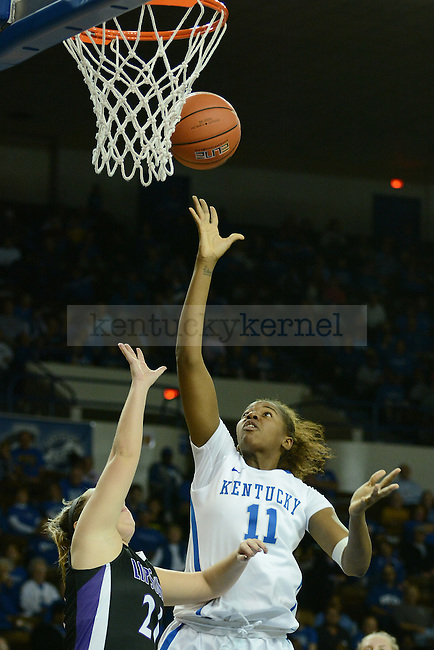 Kentucky Wildcats forward DeNesha Stallworth (11) shoots a lay up during the first half of the UK Women's Basketball game versus Lipscomb at Memorial Coliseum in Lexington, Ky., on Thursday, November 21, 2013. Photo by Caleb Gregg | Staff