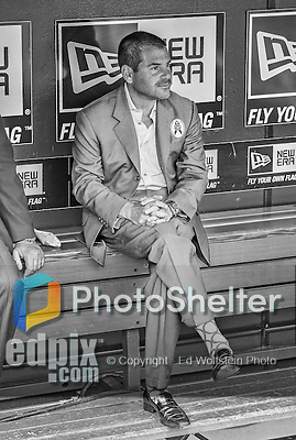 1 April 2013: Miami Marlins President David Samson sits in the dugout prior to the Opening Day Game between the Miami Marlins and the Washington Nationals at Nationals Park in Washington, DC. The Nationals shut out the Marlins 2-0 to launch the 2013 season. Mandatory Credit: Ed Wolfstein Photo *** RAW (NEF) Image File Available ***