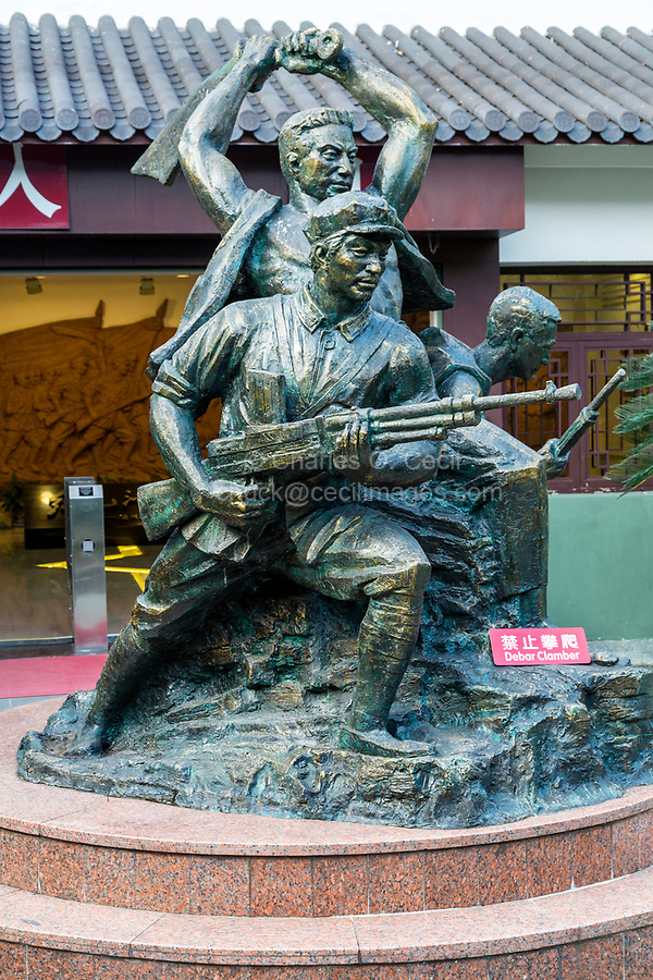 Wenzhou, Zhejiang, China.  Jiangxin Island.  Statue in Honor of the 1949 Revolution, Museum of the Revolution.