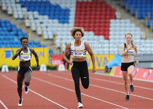 22.06.2012 Birmingham, ENGLAND : Womens 100m Heats, Ashleigh Nelson in action during the Aviva Trials at the Alexandra Stadium...