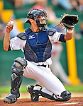 24 July 2010: Vermont Lake Monsters catcher Cole Leonida in action against the Lowell Spinners at Centennial Field in Burlington, Vermont. The Spinners defeated the Lake Monsters 11-5 in NY Penn League action. Mandatory Credit: Ed Wolfstein Photo