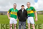 Barry O'Shea (Kerins O'Rahillys), selector Brendan Ó Sé and Dónal Daly (Firies) at the Legends of Kerry and Galway match at Pairc an Aghasaigh, Dingle, during the Cairde Friends Matter Dingle launch weekend.