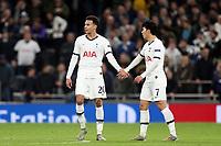 Dele Alli of Tottenham Hotspur  is congratulated after scoring the first goal during Tottenham Hotspur vs Olympiacos FC, UEFA Champions League Football at Tottenham Hotspur Stadium on 26th November 2019